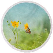 In The Garden - Monarch Butterfly Round Beach Towel