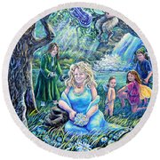 In The Garden Of The Goddess Round Beach Towel
