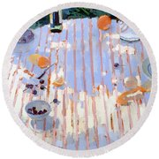 In The Garden Table With Oranges  Round Beach Towel
