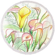 In The Golden Afternoon Round Beach Towel by Kip DeVore