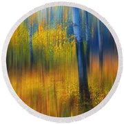 In The Golden Woods. Impressionism Round Beach Towel by Jenny Rainbow