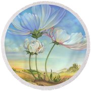 In The Half-shadow Of Wild Flowers Round Beach Towel
