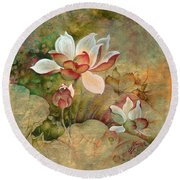 In The Lotus Land Round Beach Towel