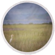 Round Beach Towel featuring the photograph In The Marsh  by Kerri Farley