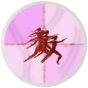 In The Pink Round Beach Towel by Mary Armstrong