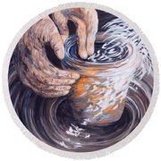 In The Potter's Hands Round Beach Towel