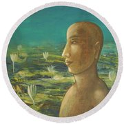 In The Realm Of Buddha Round Beach Towel