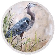 In The Reeds-blue Heron-a Round Beach Towel