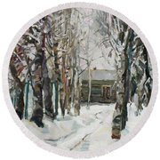 In The Snowy Silence Round Beach Towel