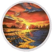 In The Still Of Dawn-2 Round Beach Towel
