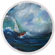 In The Storm Round Beach Towel