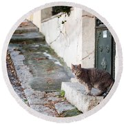Round Beach Towel featuring the photograph In The Streets Of Athens by Laura Melis