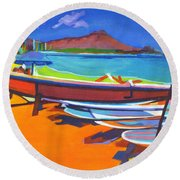 In The Summertime Round Beach Towel