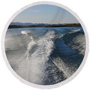 In The Wake Of Lake Havasu Az  Round Beach Towel by Cathy Anderson