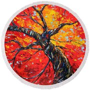 Round Beach Towel featuring the painting In Your Light by Meaghan Troup