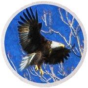 Inbound Eagle Round Beach Towel by John Freidenberg