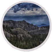 Incoming Storm Over The Black Hills Of South Dakota Round Beach Towel