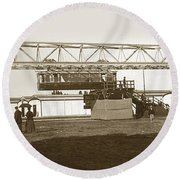 Round Beach Towel featuring the photograph Incredible Hanging Railway  1900 by California Views Mr Pat Hathaway Archives