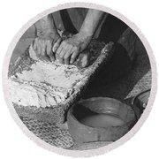 Indains Making Corn Flour Round Beach Towel