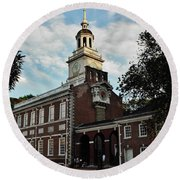 Round Beach Towel featuring the photograph Independence Hall by Ed Sweeney