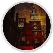 Independence Hall Philadelphia Let Freedom Ring Round Beach Towel by Jeff Burgess