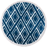 Indgo And White Diamonds Large Round Beach Towel by Linda Woods