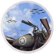 Indian 841 And The B-17 Panoramic Round Beach Towel