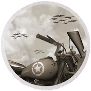 Indian 841 And The B-17 Panoramic Sepia Round Beach Towel