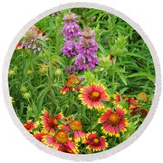 Indian Blankets And Lemon Horsemint Round Beach Towel