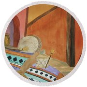 Round Beach Towel featuring the painting Indian Blankets Jars And Drums by Ellen Levinson