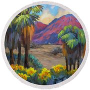 Indian Canyon In Spring Round Beach Towel