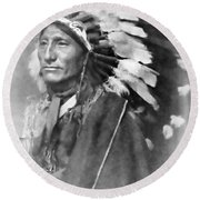 Indian Chief - 1902 Round Beach Towel