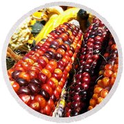 Indian Corn Round Beach Towel