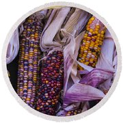 Indian Corn Harvest Round Beach Towel