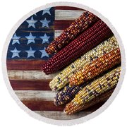 Indian Corn On American Flag Round Beach Towel by Garry Gay