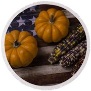 Indian Corn On Old Flag Round Beach Towel
