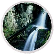 Indian Falls Round Beach Towel by Rodney Lee Williams