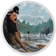 Indian Hunting With Atlatl Round Beach Towel