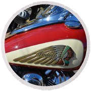Indian Motorcycle Gas Tank Round Beach Towel