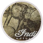 Indian Motorcycle Poster Round Beach Towel