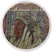 Indian Motorcycle Postertextured Round Beach Towel