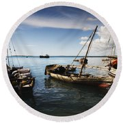 Indian Ocean Dhow At Stone Town Port Round Beach Towel by Amyn Nasser