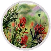 Indian Paint Brush Round Beach Towel