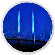 Indian River Bridge At Night Round Beach Towel