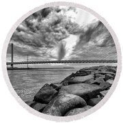 Indian River Bridge Clouds Black And White Round Beach Towel