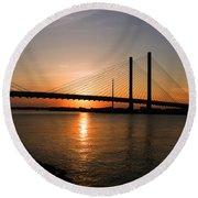 Indian River Bridge Sunset Reflections Round Beach Towel