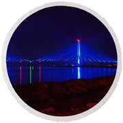 Indian River Inlet Bridge After Dark Round Beach Towel