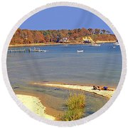 Indian Summer Afternoon Pleasant Bay Cape Cod Massachusetts Round Beach Towel