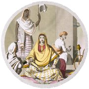 Indian Woman In Her Finery, With Guests Round Beach Towel