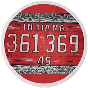 Indiana 1949 License Platee Round Beach Towel